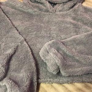 grey cropped top hoodie